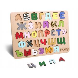 Деревянный алфавит Цветной с рисунками (Famby)