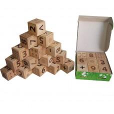 Деревянные кубики (цифры-знаки) 9 штук