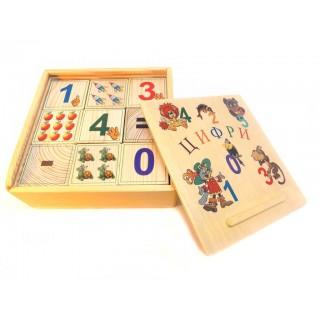 Деревянные кубики-цифры 9 штук