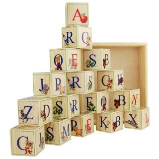 Деревянные кубики-алфавит (Английский язык) 16 штук