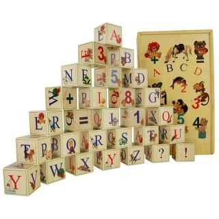 Деревянные кубики-алфавит (Английский язык) 28 штук