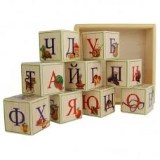 Деревянные кубики-алфавит (Русский язык) 9 штук