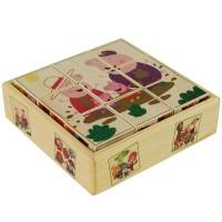 Деревянные кубики-пазлы    (6 картинок)