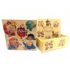 Деревянные кубики-пазлы (Смешарики) 9 штук