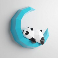 """Паперкрафт """"Панда на луне"""""""