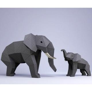 """Паперкрафт """"Слон и слонёнок"""""""
